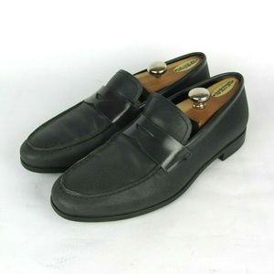 GIORGIO ARMANI Black Leather Penny Loafers 8.5